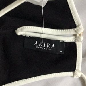 AKIRA Tops - AKRIA - Black And White Crop Halter Top -M